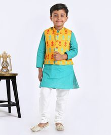 Exclusive From Jaipur Full Sleeves Kurta And Pyjama With Jacket - Blue Yellow