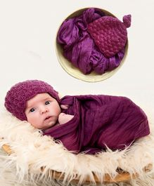 Babymoon Non Stretchable Swaddle Baby Wrap & Cap New Born Photo Graphy Shoot Prop - Purple