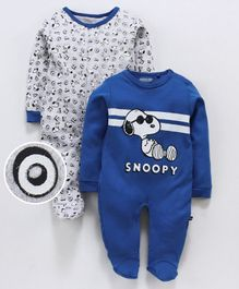 Mom's Love Full Sleeves Romper Snoopy Print Pack of 2 - Grey Blue
