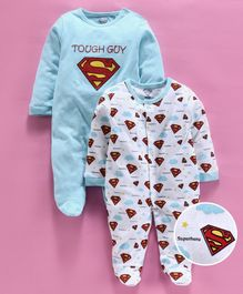 Mom's Love Full Sleeves Footed Rompers Superman Print Pack of 2 - Blue White