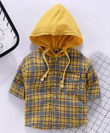 Lekeer Kids Full Sleeves Hooded Tartan Shirt - Yellow