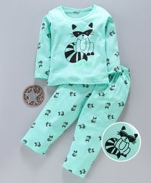 Doreme Full Sleeves Night Suit Kitty Print - Green