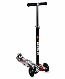 NHR 4 Wheel Kid's Scooter with LED Lights - Black
