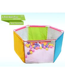 NHR 6 Wall Ball Pool Play Tent With 50 Colorful Balls - Multicolour