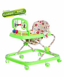 Dash Deluxe Musical Baby Walker With Toy Bar  - Green