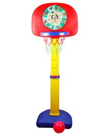 Kiddie Fun Baby Adjustable Height Basket Ball Set With Dart Board - Multicolour