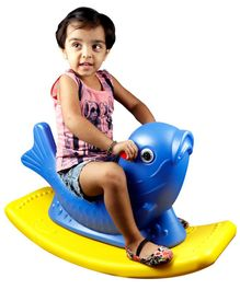 Kiddie Fun Dolphin Shape Baby Rocker With Handle - Blue