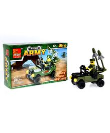 Playmate Army Vehicle Building Blocks Set Green - 58 Pieces