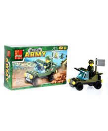 Playmate Army Vehicle Building Blocks Set Green - 52 Pieces