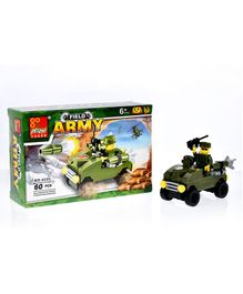 Playmate Army Vehicle Building Blocks Set Green - 60 Pieces
