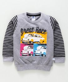 DEAR TO DAD Full Sleeves Great Race Print Tee - Grey