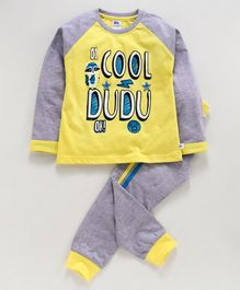 DEAR TO DAD Full Sleeves Cool Dudu Print Tee With Lounge Pants - Yellow