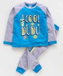 DEAR TO DAD Full Sleeves Cool Dudu Print Tee With Lounge Pants - Blue
