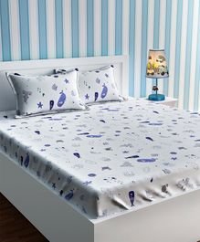 Urban Dream Double Bed Sheet Aquatic Animals Print - Blue And White