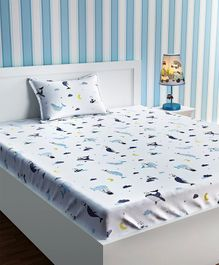 Urban Dream Single Bed Sheet Panda And Whale Print - White And Blue