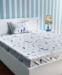 Urban Dream Single Bed Sheet Aquatic Animals Print - White And Blue