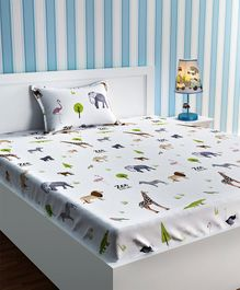 Urban Dream Single Bed Sheet Zoo Animals Print - White And Green