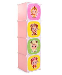 Storage Cabinet 4 Compartments Cute Babies In Animal Costume Print - Pink