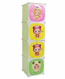 Storage Cabinet 4 Compartments Cute Babies In Animal Costume Print - Green