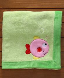 Polywool & Sherin Blanket With Fish Patch - Green