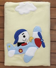 Polywool & Sherin Blanket With Aeroplane & Cloud Patch - Yellow