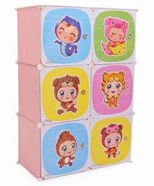 Storage Cabinet 6 Compartments Cute Babies In Animal Costume Print - Peach