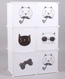 6 Compartment Storage Unit Animal Face Print -  White