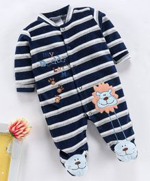 Kookie Kids Full Sleeves Winter Wear Striped Footed Romper Lion Patch - Navy Blue