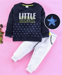 Ollypop Full Sleeves Winter Wear Tee & Lounge Pants Stars Print - Blue