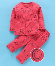 Doreme Full Sleeves Night Suit Text Print - Red