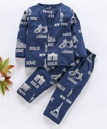 Doreme Full Sleeves Night Suit Text Print - Navy Blue