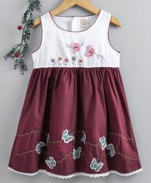 Smile Rabbit Sleeveless Frock Butterfly Patch - Dark Maroon