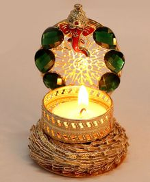 Passion Petals Decorative T-Light With Ganeshji And Green Stones