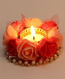 Passion Petals Decorative T-Light With Flowers - Pink Red