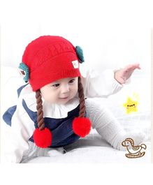 Ziory Winter Wigs Bow Knitted Beanie Cap - Red