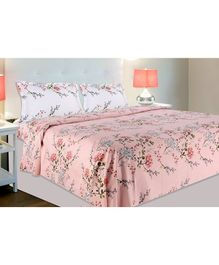 Haus & Kinder Victorian Summer Dream Cotton Double Bedsheet with 2 Pillow Covers - Pink