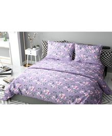 Haus & Kinder Chic Floral Art Cotton Double Bedsheet with 2 Pillow Covers - Violet