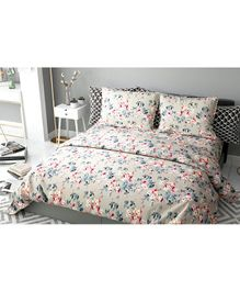 Haus & Kinder Chic Floral Art Cotton Double Bedsheet with 2 Pillow Covers - Beige