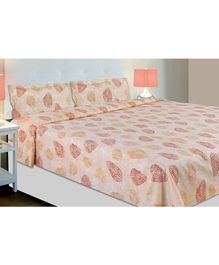 Haus & Kinder Leaves Block Print Cotton Double Bedsheet with 2 Pillow Covers - Mustard