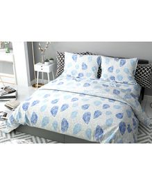 Haus & Kinder Leaves Block Print Cotton Double Bedsheet with 2 Pillow Covers -Blue