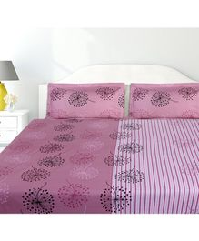 Haus & Kinder Two in One Mirage Cotton Double Bedsheet with 2 Pillow Covers - Pink