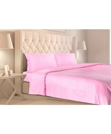 Haus & Kinder Satin Stripes Cotton Double Bedsheet King Size with 2 Pillow Covers - Pink