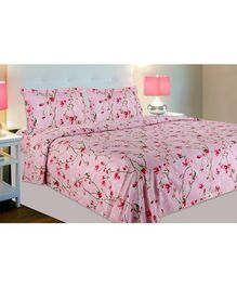 Haus & Kinder Summer Vintage Romance Cotton Double Bedsheet with 2 Pillow Covers - Baby Pink