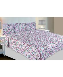 Haus & Kinder Red & White Contemporary Collection Cotton Double Bedsheet with 2 Pillow Covers - Blue & Purple