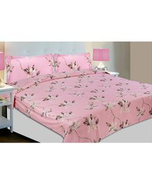 Haus & Kinder Red & White Contemporary Collection Cotton Double Bedsheet with 2 Pillow Covers - Pink