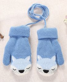 Flaunt Chic Fox Design Mittens - Light Blue