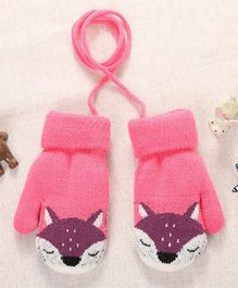 Flaunt Chic Fox Design Mittens - Pink