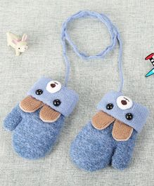 Flaunt Chic Bunny Ear Applique Mittens - Blue