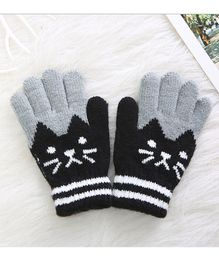 Flaunt Chic Cat Design Gloves - Black