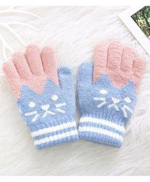 Flaunt Chic Cat Design Gloves - Light Blue